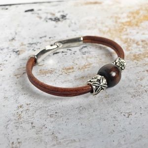 Hand Crafted Leather and Wood Bracelet